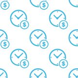 Clock money white pattern Stock Photography