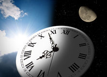 Clock, moon and sun Stock Photos