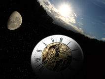 Clock, moon and sun. From day to day. The time passing vector illustration