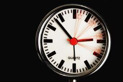 Clock with motion blur time effect Stock Images