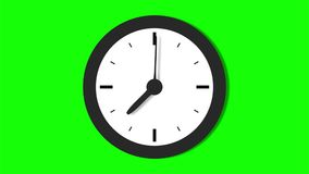 Real time clock animation. Clock with moving arrows. Time run on a green background stock video