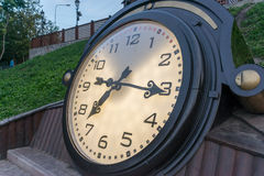 Clock. NBeautiful clock in a garden in kharkiv city Royalty Free Stock Images