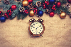 Clock near Pine branches Royalty Free Stock Photo