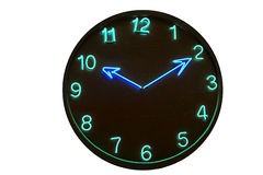 Clock neon. Wood clock, neon, time passing, simple concept stock image