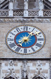 The clock of New City Hall in Marienplatz, Munich, Germany Royalty Free Stock Images