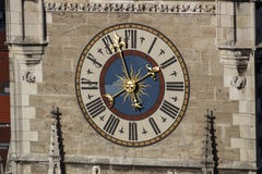 Clock of the New City Hall of Munich at Marienplatz, Germany, 20 Royalty Free Stock Images