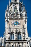 The clock of the New Town Hall building. Munich, Germany Royalty Free Stock Photos