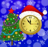 Clock with a new-year cap and fir-tree decorated Royalty Free Stock Images