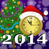 Clock with a new-year cap, by a fir-tree decorated and symbols o. F coming year, illustration Stock Photo
