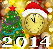 Clock with a new-year cap, by a fir-tree decorated and symbols o. F coming year, illustration Royalty Free Stock Image