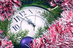 Clock and New Year decorations Stock Images