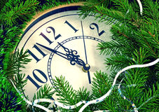 Clock and New Year decorations Royalty Free Stock Images
