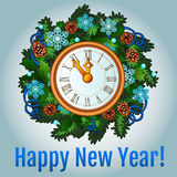 Clock with new year decorations Royalty Free Stock Image