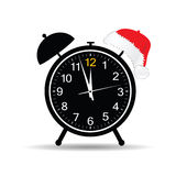 Clock with new year hat vector Royalty Free Stock Photo