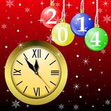 Clock and new-year marbles with the numbers of coming year Royalty Free Stock Images