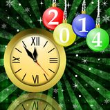 Clock and new-year marbles with the numbers of coming year. Illustration Royalty Free Stock Photo
