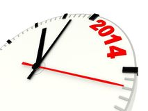 Clock with 2014 New Year sign. Isolated on white Stock Photo
