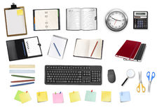 A clock, notebooks and some office supplies. Royalty Free Stock Images