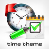 Clock, notepad and marker Royalty Free Stock Image