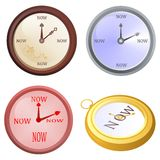 Clock now. Set of four clocks isolated  with now message Royalty Free Stock Image