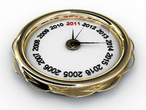 Clock with numbered years. 3D Royalty Free Stock Images