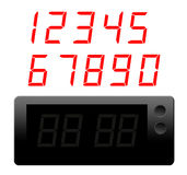 Clock and numbers. Red numbers and black clock  digital over white background Royalty Free Stock Images