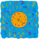 Clock numbers. Illustration of a clock with many numbers Stock Photo