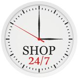 Clock without numbers marked shop is open 24 hours. A week Stock Photography