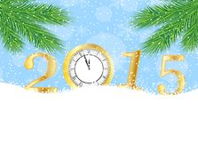 Clock and numbers 2015 on to snow Royalty Free Stock Images