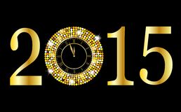 Clock and numbers 2015 year on a black background with gold span. Gles,  vector  illustration Royalty Free Stock Images