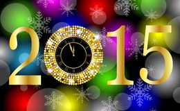 Clock and numbers 2015 year on a bright background with gold spa. Ngles,  vector  illustration Royalty Free Stock Images