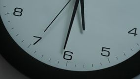 Clock in the office, black-and-white, closeup shot stock footage