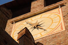 Clock of old Castle in Verona, Italy. The clock tower in che old Castle of Verona, Italy royalty free stock photography