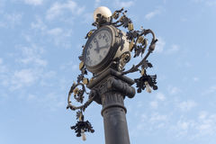 Clock old lamppost in the street, Jerez de la Frontera, Spain Royalty Free Stock Photo