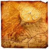 Clock with old map Royalty Free Stock Photography