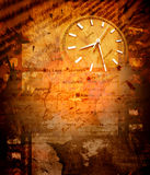 Clock with old map Royalty Free Stock Images