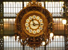 The clock of the old railway station. Musee d`Orsay, Paris, France royalty free stock photos