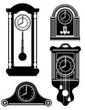 Clock old retro vintage icon stock vector illustration black out Royalty Free Stock Images