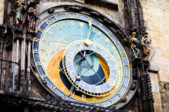 The clock on the old square in Prague Stock Photos