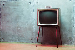 Clock on the old TV Royalty Free Stock Images