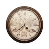 Clock. Old wall clock on a white background Royalty Free Stock Photos