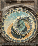 Clock On The Old Living Surface In Prague Royalty Free Stock Image