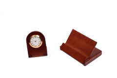 Clock and open buisness card holder Royalty Free Stock Photos