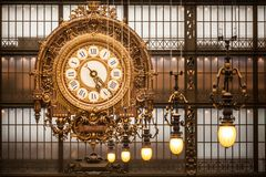 Clock at Orsay Museum, Paris. Museé d'Orsay Clock in Paris, France Royalty Free Stock Images