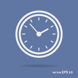 Clock outline icon white color isolated on cyan background Royalty Free Stock Images