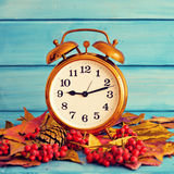 Clock over autumn leafs Stock Images