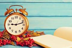 Clock over autumn leafs Royalty Free Stock Photos