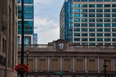 Clock on overpass of train station in downtown Chicago Loop during summer. stock photography