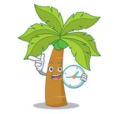 With clock palm tree character cartoon Stock Images