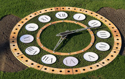 Clock in the park. Big clock against the background of green grass in the park stock images